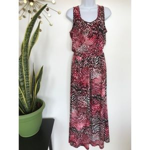 Calvin Klein sleeveless abstract dot maxi dress 12